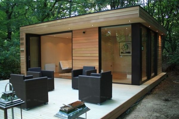 casa modular verde